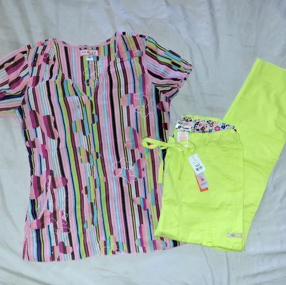 Koi Scrub Set Pinks & Lime Green Xs Top Sm P Pants